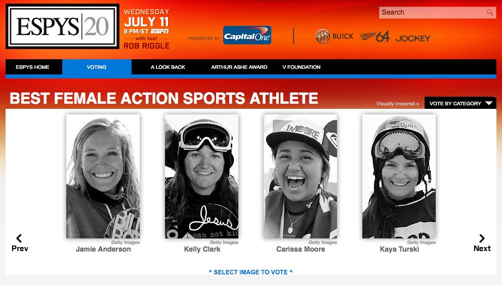 Vote for Kaya Turski for 2012 Espy Awards